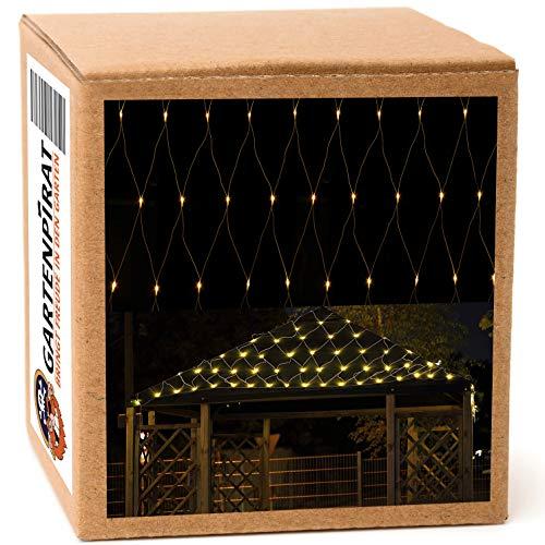 Lichternetz 3x2 4x2 3x3 m warmweiß 200 LED außen Kabel weiß mit Timer