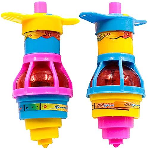 ERYUE 2 piezas de juguete giratorio para niños con luz intermitente Spinner Top Gyroscope Playthings para niños Peg-Top Toy Kids Educativo Artesanía Regalo Juguetes (color al azar)