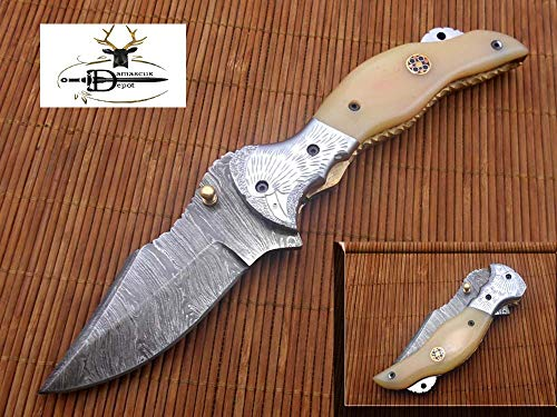 Damascus Steel Pocket Folding Knife with Leather Sheath, Solid Steel Bolster with Bird Engraved, Liner Lock & Thumb knob