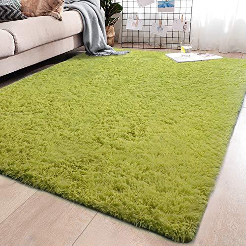 YJ.GWL Soft Green Shaggy Area Rugs for Girls Room Bedroom Non-Slip Kids Carpet Baby Nursery Decor Fluffy Modern Rug 5.3 x 7.6 Feet