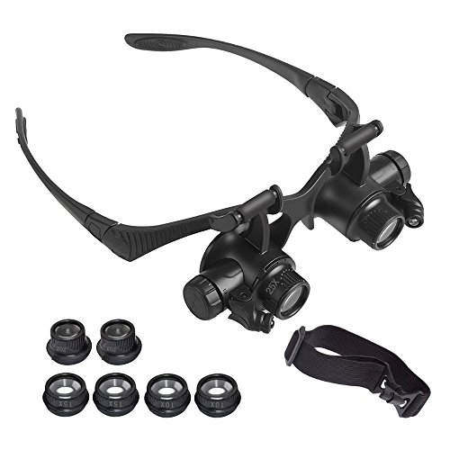 WELSUN Vergrößerungsgläser 15 X 20X 25X Auge Schmuck Uhr Reparatur Lupe Gläser mit 2 LED-Leuchten Mikroskop (1 STÜCKE)