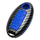 TANGSEN Key Fob Case Blue Cover for INFINITI EX FX X G JX M Q QX Series for NISSAN ALTIMA COUPE ARMADA GTR MAXIMA MURANO CROSS CABRIOLET PATHFINDER ROGUE SENTRA VERSA 4 Button Keyless Entry Remote