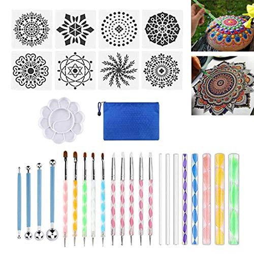 YOYOHO 32 Piezas Herramientas de Punteado Pintura Pluma Pinceles Plantilla Bandeja de Pintura para cerámica