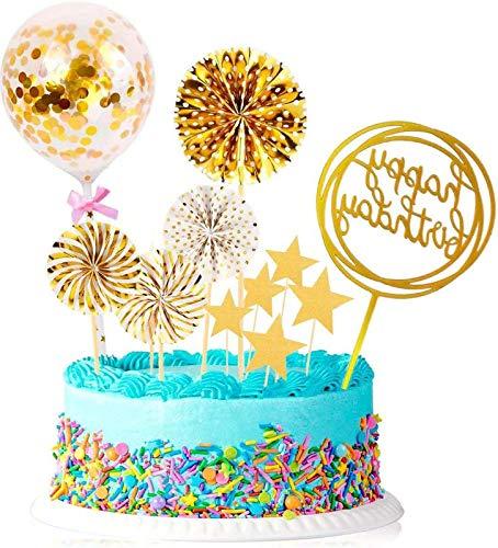 Guizu Cake Topper, Happy Birthday Cake Topper, per Compleanno Decorazione Torta per Feste,Glitter Party Decorations ,Matrimoni, Feste a Tema, Ragazzi e Ragazze(16pcs)