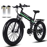 MX-01 montaña Bicicleta Electrica 1000W 20 pulgadas 4.0 gordo Neumático Plegable Nieve Bicicleta eléctrica 48 V / 12,8 Ah Retirable Litio Batería Electrónico Bicicleta ( Color : Verde , tamaño : 1b )