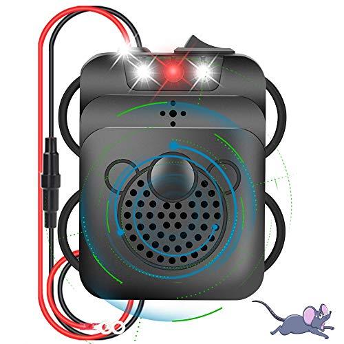 Eletorot Marderschreck Auto, Marderabwehr Marderschutz mit Ultraschall und LED-Blitzlichtfunktion, 12 kHz Frequenz Marderfrei für Garage Motorraum, Anschluss an 12V Autobatterie