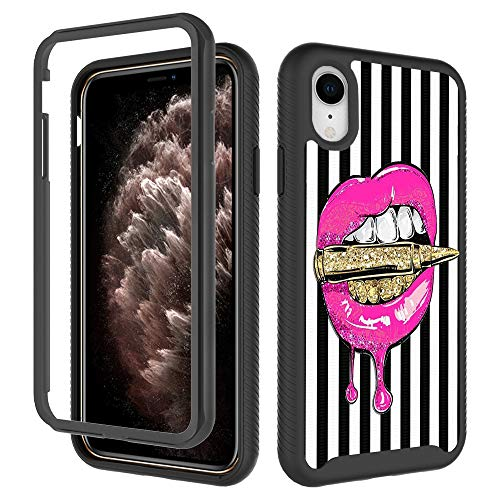 Luxury Elegant iPhone XR Cases, Pink Lips in Gold Bullet iPhone XR Case for Girls Women Shockproof Rugged Dual Layer Cover Soft TPU + Hard PC Bumper Full-Body Protective Case for iPhone XR (6.1 inch)