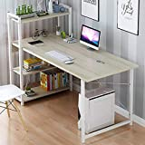 Computer DeskComputer Laptop Desk Modern Style Computer Desk with 4 Tiers Bookshelf for Home Office StudyingOffice Desk WorkstationModern StyleOffice