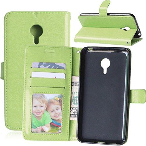 FUBAODA für Meizu MX4 Pro Hülle, Flip PU Leder Brieftasche Hülle + Kostenlos Syncwire Ladekabel, mit ID/Bargeld/Karten Aussparrung & Ständerfunktion für Meizu MX4 Pro (5.5 inch) (grün)