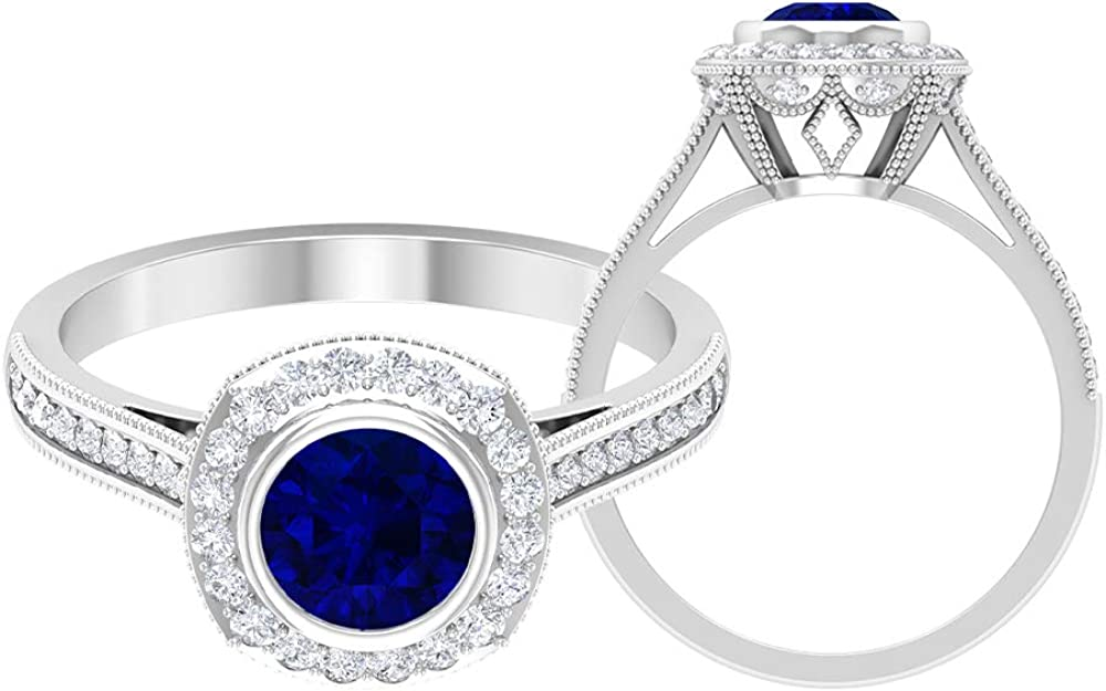 Cathedral Halo Ring, 1.45 CT D-VSSI Moissanite, 6 MM Lab Created Blue Sapphire Gemstone Ring, Stackable Gold Wedding Jewelry, 14K White Gold, Diffused Sapphire, Size:US 5.0