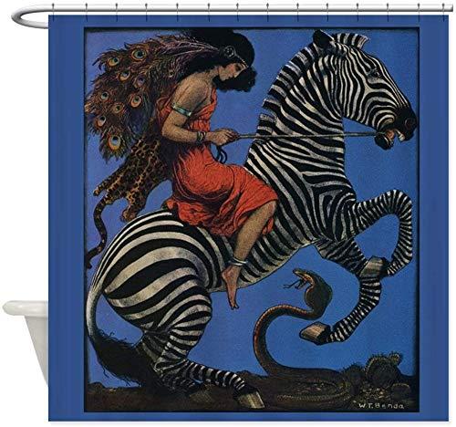 AFDSJJDK Vorhang Raffhalter Vintage Zebra mit Kunst Frau Reiter Dusche Dekorativer Stoff Duschvorhang