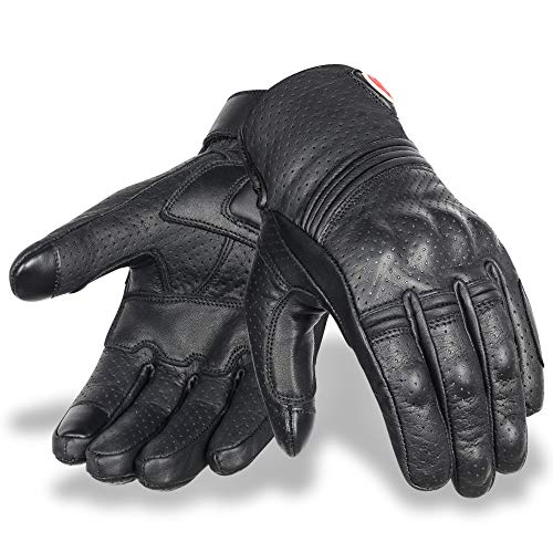 Cowhide Leather Motorcycle Gloves for Men Mobile Touchscreen Full Finger Gloves for Cycling Motorbike ATV Bike Camping Climbing Hiking Work Outdoor Sports (Black, Large)