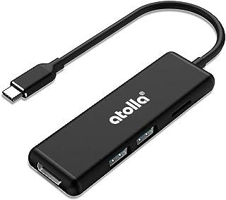 atolla USB C Hub, 5 in 1 adattatore USB C HDMI in alluminio con 2 porte USB 3.0, lettore di schede SD / Micro SD per MacBo...