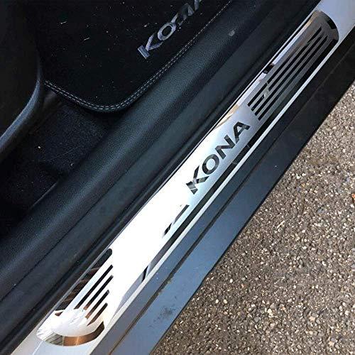 N/A 4 Stücke Auto Einstiegsleisten Edelstahl Für Hyundai KONA/Kauai 2018, Exterieur Türschwellerschutz Original Zierleisten Abdeckung Pedal Schutz Aufkleber, Einfache Montage