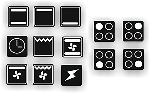 dise/ño de s/ímbolos blancos sobre fondo negro 10 x 10 mm Generisch Juego de pegatinas para cocina R74//1