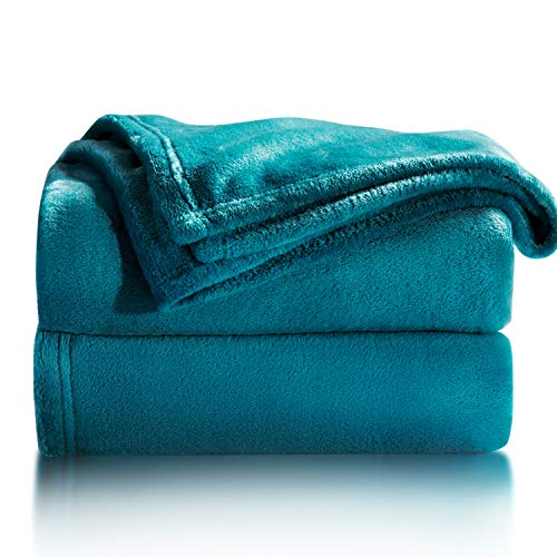 Bedsure Manta para Sofás de Franela 130x150cm - Manta para Cama 90 Reversible de 100% Microfibre Extra Suave - Manta Verde Azulada Transpirable