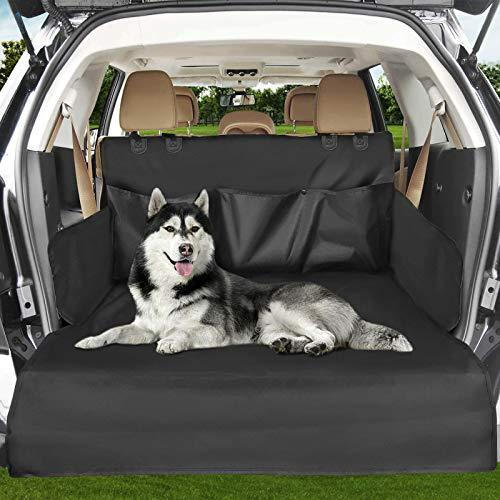 Anykuu Kofferraumschutz für Hunde Auto- Kofferraumdecke wasserdichte und waschbare Kofferraumschutzmatte mit Seitenschutz Schützt Autoabdeckung Sitzbezug Kofferraumabdeckung schwarz