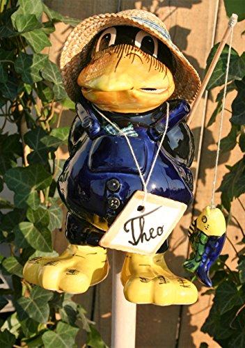 Tangoo Keramik Gartenfigur Rabe THEO Angler mit blauer Hose