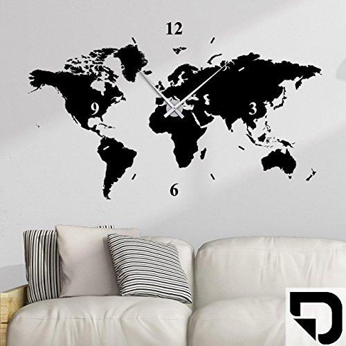 DESIGNSCAPE® Wandtattoo Uhr Weltkarte 100 x 60 cm (B x H) schwarz inkl. Uhrwerk silber, Umlauf 44cm DW813006-M-F4-SI