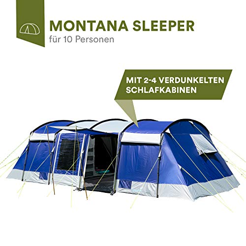 Skandika Montana 8-10 Person/Man Family Group Tunnel Tent with Sun Canopy, 200 cm Peak Height, 5000 mm Water Column, 2-4 Sleeping Cabins (Blue 10 Berth Sleeper)