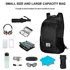 Hiking Backpack Ultra Lightweight Packable Camping Backpack Waterproof Travel Outdoor Hiking Daypack for Women Men(BLACK)