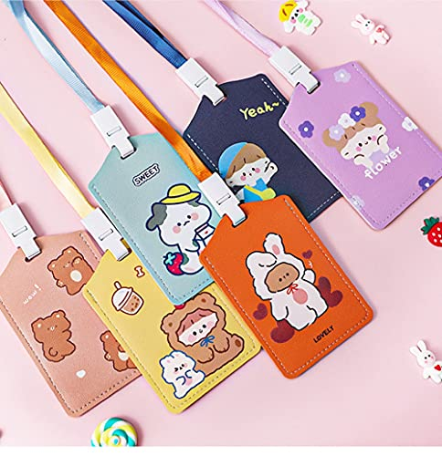 Shopdp 6 Pack Bear Cartoon PU Leather Card Holders with Detachable Neck Lanyard,ID Badge Holders for Students Teens Boys Girls Ladies
