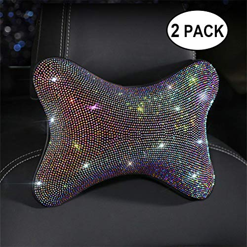 Bling Bling Rhinestones Diamond Car Seat Neck Rest Pillow Luster Crystal Headrest Head Support Diamond Car Decor Accessories(Head Pillow 2 PACK)