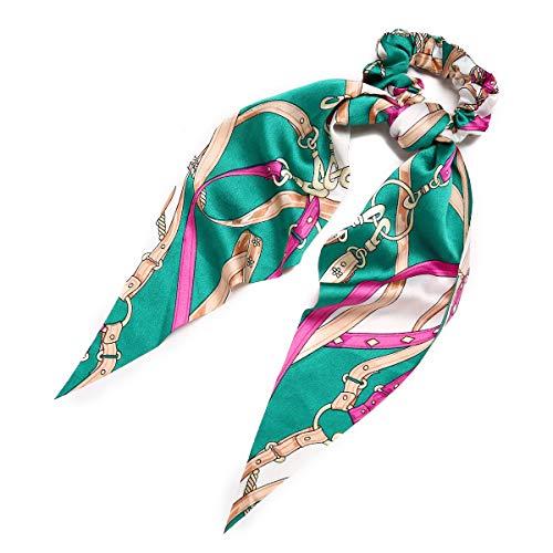 Clest F&H Scrunchies de lazo verde oscuro para el pelo, bonitos scrunchies de orejas de conejo con estampado de cadena, soportes de cola de caballo con lazo para el pelo para mujeres y niñas
