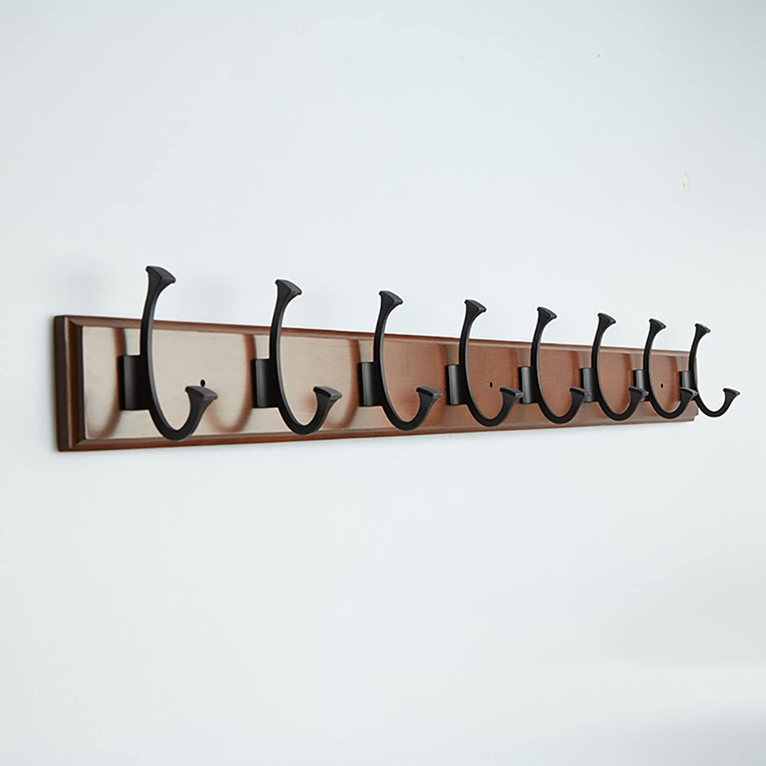 LXLA- Shelf Hangers Coat Rack Hook up Double Wood Bamboo Wall-Mounted White Brown (Available 4,5,6,7,8 Hooks, 48.4 61.2 74 86.8 99.6×8×1.8 cm) (color   Brown, Size   8 Hooks)