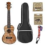 KEPOHK Ukelele de concierto de 23 pulgadas Panel de caoba Guitarra elegante Todo clavo de cola s¨®lida con bolsa Cadena Capo Correa 23 pulgadas...