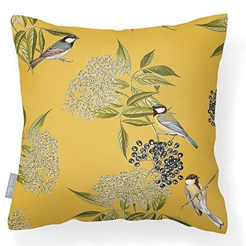 Izabela Peters Outdoor Garden Cushion Waterproof - Mustard - Bird on Elderflower - Breathable Fabric - Lakeland Collection - Designed, Printed & Handmade In The UK