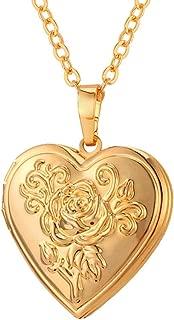 U7 Women Girls Photo Locket Pendant Heart/Round Shaped Fashion Jewelry 18K Gold Plated Necklace, with Custom Engrave Service