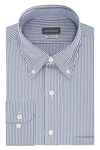 Van Heusen mens Regular Fit Pinpoint Stripe Dress Shirt, Ocean, 17.5 Neck 32 -33 Sleeve X-Large US