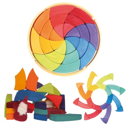 &   Large Circle of Goethe   Wooden Waldorf Color Wheel Pattern Puzzle Blocks in Storage Tray by