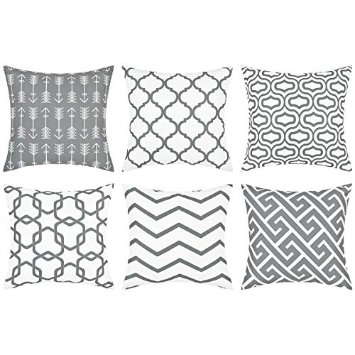 Yastouay Throw Pillow Covers Set of 6 Modern Decorative Throw Pillow Cases Geometric Pillow Covers Cushion Covers for Couch Sofa Bedroom Car (Grey and White, 18 x 18 Inch)