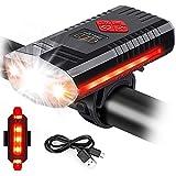 Luz de Bicicleta Recargable USB con Campana, Equipo de Ciclismo 3 LED 1000 lúmenes Luces de Bicicleta Super Brillantes y batería de Litio de 1200 mAh, Faros LED Impermeables IPX4, para garantizar