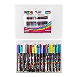Posca PC-1MR Marcador de pintura acrílica Mega Pack, juego completo de 22 colores, punta extra fina de 0,7 milímetros, fantástico juego de arte, 22 bolígrafos, exclusivo de easichalk.