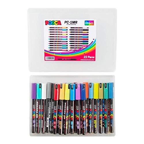 Posca PC-1MR - Pennarelli acrilici in confezione grande, set completo di tutti i 22 colori, punta extra fine 0,7 mm, fantastico set artistico, 22 penne, in esclusiva per easichalk.