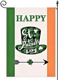 YaoChong Happy St. Patrick's Day Ireland Garden Flag Vertical Double Sided 12.5x18 Inch,Lucky Irish Shamrock Hat Buffalo C...