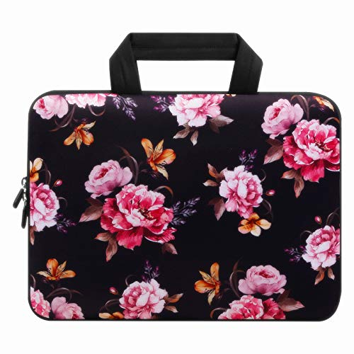 Violet Mist 11 11.6 12 12.1 Inch Laptop Sleeve Bag Carrying Case Neoprene Notebook Protective Bag Chromebook Tablet Cover with Handle for Office Men Women(Many Peony,12')