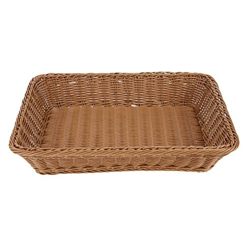Square Woven Wicker Bread Display Basket,Iron Frame Imitation Rattan Food Display Container Sumpermaket,Restaurant Quality Food Dinnerware Storage Basket (35257CM)