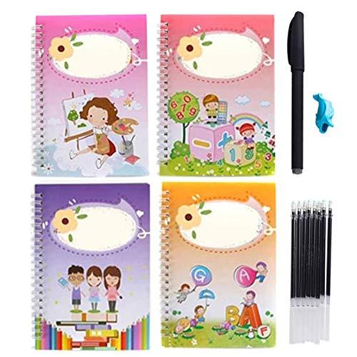 Juego de 4 cuadernos con escritura a mano y 1 bolígrafo de tinta retráctil para niños, cuaderno Pinyin chino, no italiano