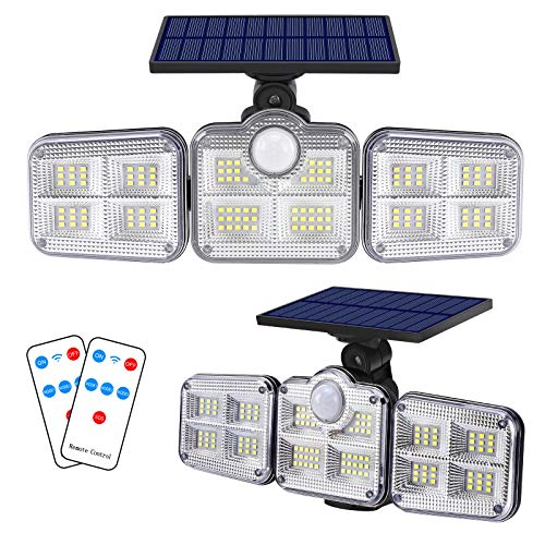 Solar Lights Outdoor, Aufixy Solar Motion Sensor Lights 122 LED 1000LM Wireless LED 3 Adjustable Heads 270° Wide Angle Illumination IP65 Waterproof Security LED Flood Light 2 Pack