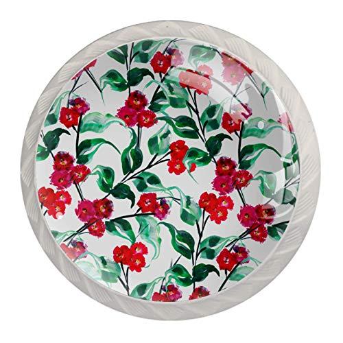 (4 piezas) pomos de cajón para cajones, tiradores de cristal para gabinete, hogar, oficina, armario, pequeñas flores rojas, hojas verdes, 35 mm