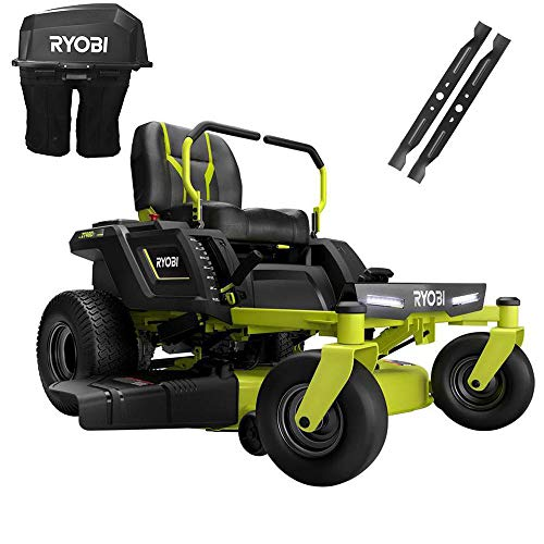 RYOBI 42 in. 75-Amp Battery Electric Riding Zero Turn Mower and Bagging Kit - RY48ZTR75-1A