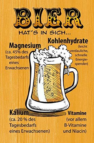 Bier hat es in sich Magnesium Vitamine Kohlenhydrate Beer Blechschild Metallschild Schild gewölbt Metal Tin Sign 20 x 30 cm