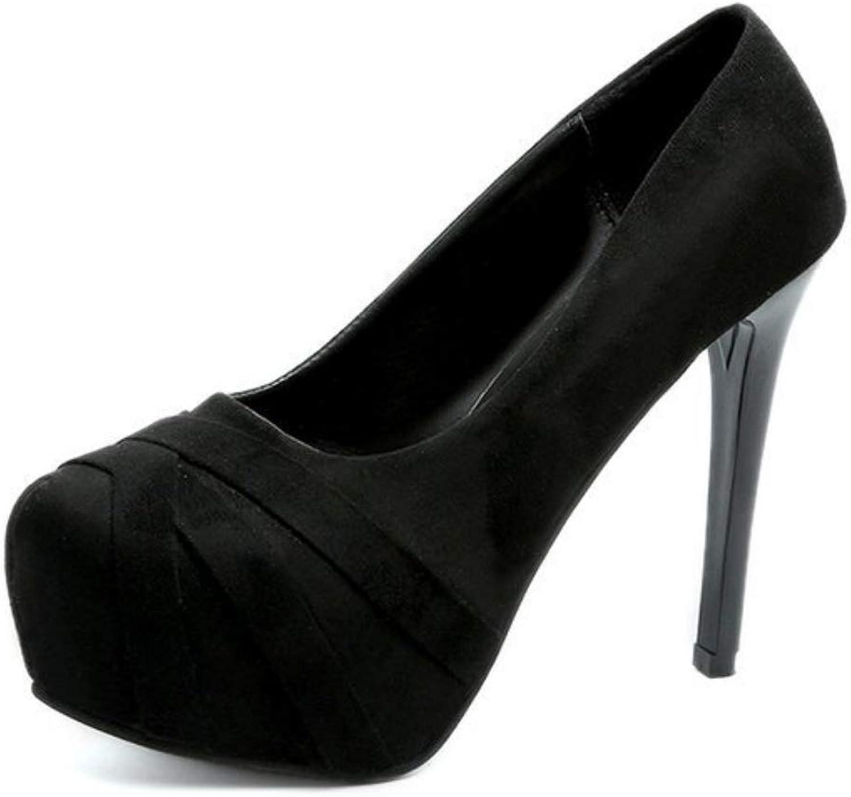 Women's Closed-Toe Pumps Slip On Round Toe High Heel Ladies Stealth Platform Pump Party Dress High Heel Round Toe Stiletto High Heel