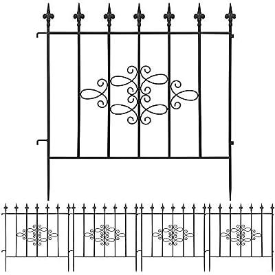 Amagabeli Decorative Garden Fence 27inx11ft Outdoor Coated Rustproof Metal Garden Fencing Panel Animal Barrier Iron Folding Edge Wire Border Fence Ornamental for Patio Landscape Vegetable Bed FC03