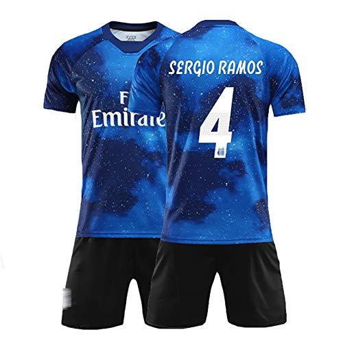 Sommer Fußballanzug für Ramos 4 Varane 5 Kroos 8, Kinder- und Herrenfußballuniformen, Trainingsuniform, kann wiederholt gewaschen Werden, das Beste Geschenk-No4-M