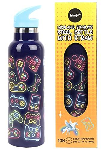 Fringoo - Borraccia Neon Gamer con cannuccia - Bottiglie d'acqua alte senza BPA - Bottiglia d'acqua isolata - Bottiglia d'acqua in acciaio inossidabile - Bottiglie d'acqua per bambini - 600 ml